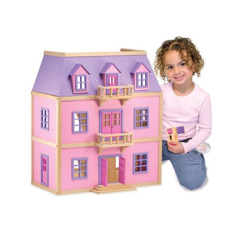 Dukkehus i tre etager, pige dukkehus, træ dukkehus, rolleleg, hverdagsroller, dagligdags vendinger, sprogbadning, sprogstimulering, høretab, auditory verbal therapy, ciha, dukkehus, dukker