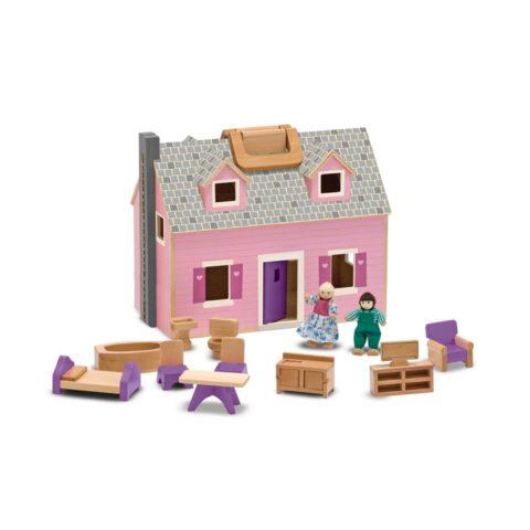 fold-and-go, dukkehus, fold og tag med dukkehus, dukker og tilbehør, rolleleg, hverdagsleg, små piger, lyserødt dukkehus, cochlear implants, høreapparater, sprogstimulering, høretræning, auditory verbal therapy