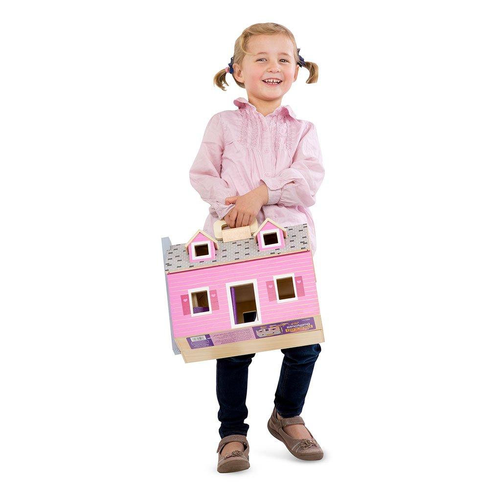 dukkehus, fold og tag med dukkehus, dukker og tilbehør, rolleleg, hverdagsleg, små piger, lyserødt dukkehus, cochlear implants, høreapparater, sprogstimulering, høretræning, auditory verbal therapy