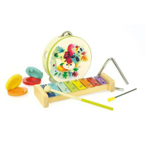 musikinstrument, musikpakke, musik, musik pakke, musik gaveæske, xylofon, tamburin, katanjeter, musik og sang, musiker, lille musik band