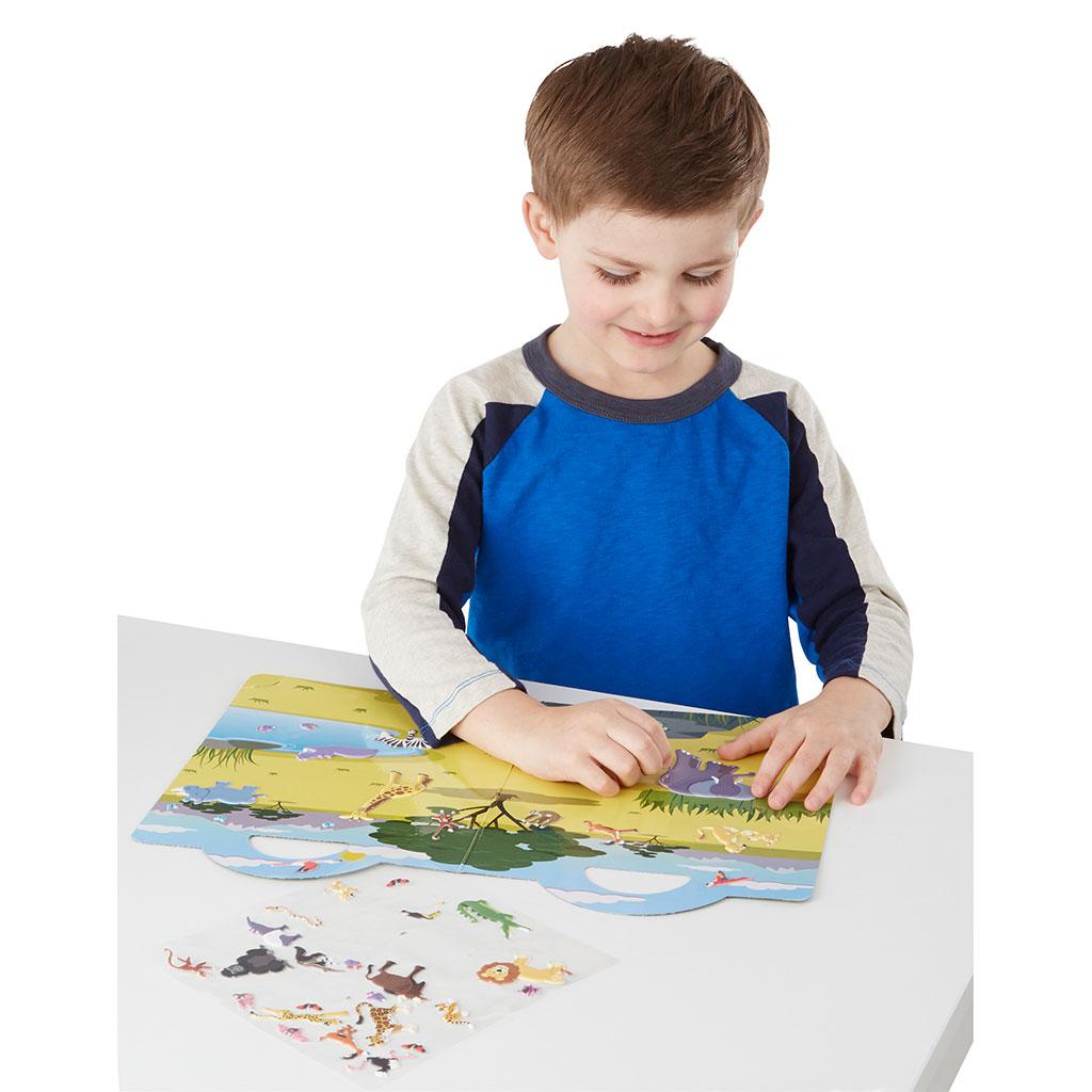 Safari boble klistermærke bog, klistermærkebog, rolleleg, sprogstimulering, høre og tale træning, ciha. auditory verbal therapy metode, høretab, sjov på farten