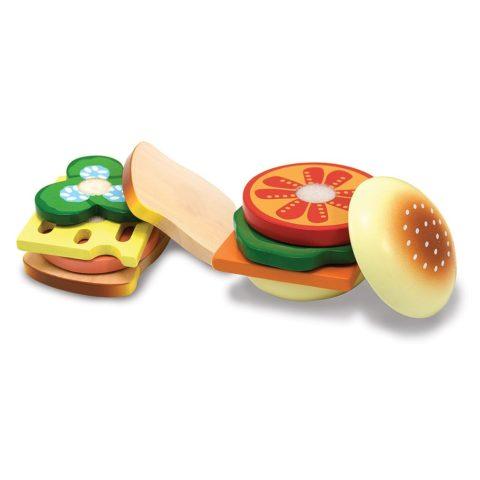 Sandwich sæt, byg selv, rollelleg, sprogtræning, træ legemad, legekøkken, legemad
