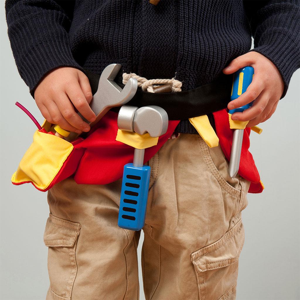 Værktøjsbælte, håndværker, rolleleg, drenge leg, værkstedsbælte, ciha, sprogstimulering