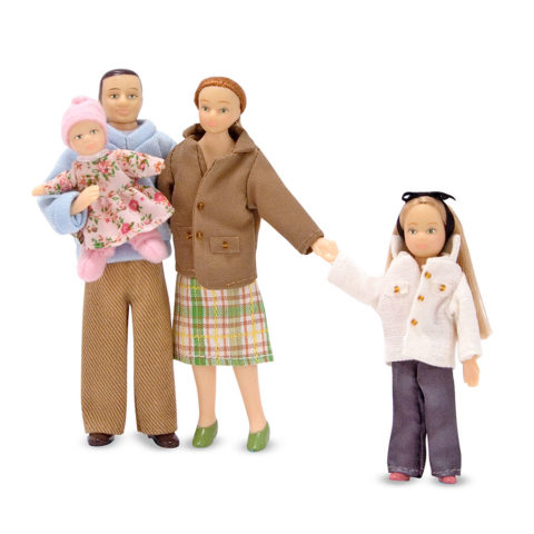 dukker, dukkefamilie, familie på fire, mor far og børn, rolle leg, dukkehus, ciha