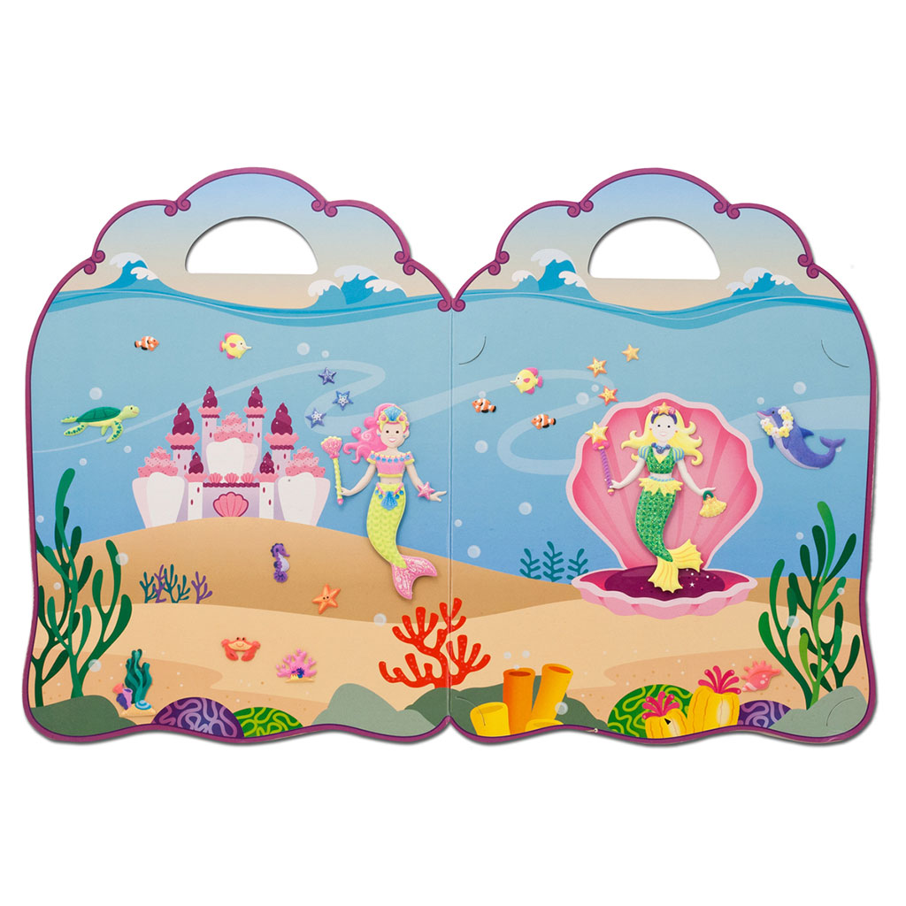 Havfrue, havfruer, bobleklistermærker, klistermærker, genbrugelige klistermærker, mærkebog, fantasifuld leg, historiefortælling, kommunikation, høretab, cochlear implants, høreapparater, hørenedsættelse, melissa and doug, ciha