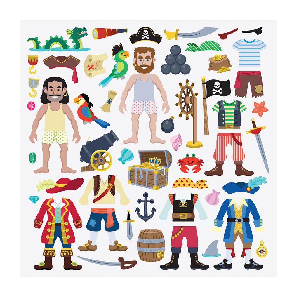 pirat, pirater, bobleklistermærker, klistermærker, genbrugelige klistermærker, mærkebog, fantasifuld leg, historiefortælling, kommunikation, høretab, cochlear implants, høreapparater, hørenedsættelse, melissa and doug, ciha