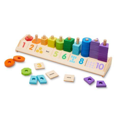 stablebræt, sorteringsbræt, sortering, farver, forme, tal, tællefærdigheder, finmotorik, linglydstjek, droptest, sprogstimulering, sprog, matematik