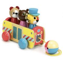 Træklegetøj, bus, vilac, babylegetøj, puttekasse bus