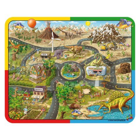Dinosaurs og aliens, rumvæsener, dino, fortælle tæppe, gulvtæppe, leg, sprog, historie, fantasi, interaktivt univers, tip tap tudse, ciha