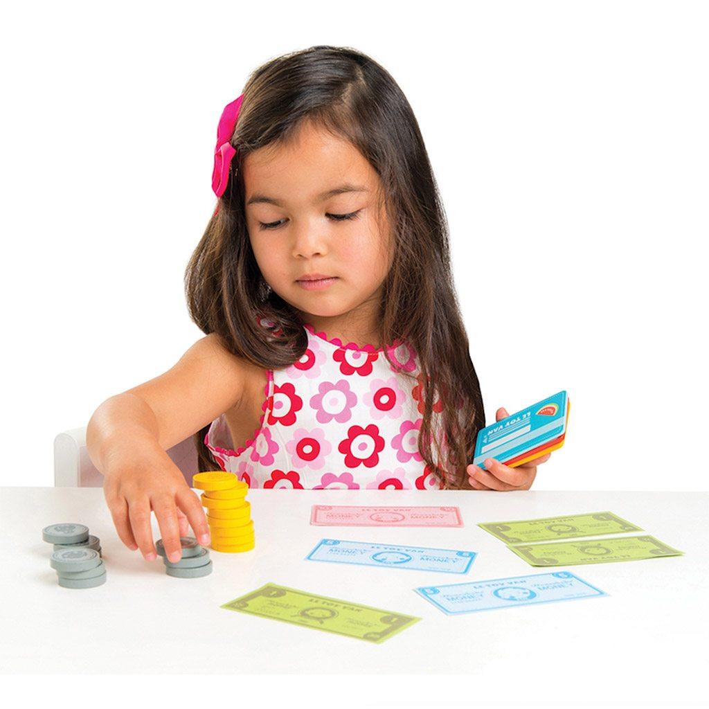 penge, pengesedler, rolleleg, købmand, butik, isbutik, le toy van,