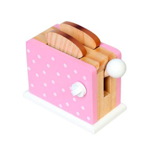 toast. toaster, pink, legend, trælegetøj, legekøkken, restaurant, mad, træ, legetøj, kommunikation, social leg