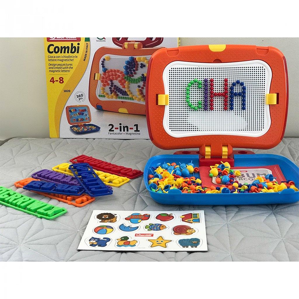 combi, querceti, stift mosaik, magnet tavle, bogstaver, læse, skrive, tælle, finmotorik, rejse, ferie, stoleleg, læring, ciha