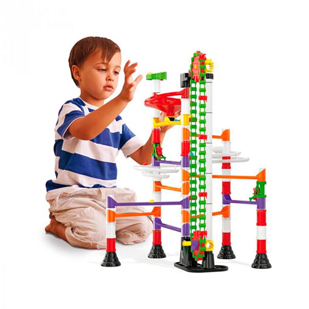 migoga, elevator, marble run, kuglebane, motorik, konstruktion, bygge, motorik, drenge legetøj, julegave, quercetti
