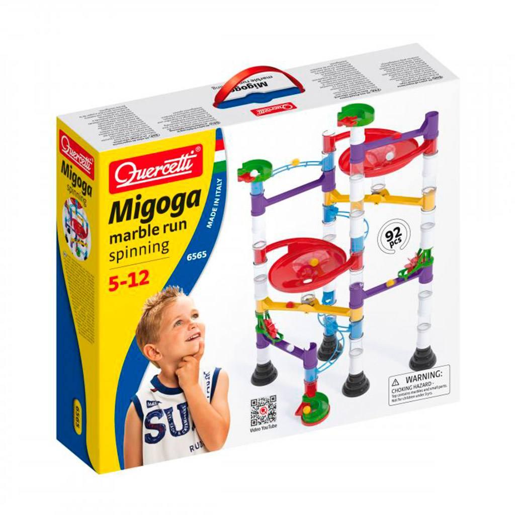 migoga spinning, marble run, kuglebane, migoga, quercetti, konstruktion, julegave, drenge legetøj, ciha