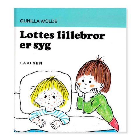 lottes lillebror er syg, lottes lillebror, Lotte og totte bøgerne, gunilla wolde, børnebog, barnebøger, ciha, sprog, dialog, samtale