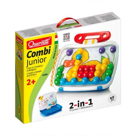 combi junior fra Quercetti, legekuffert med stift mosaikker og whiteboard tavle til at tegne på. CIHA webshop med legetøj der styrker dit barns sprog