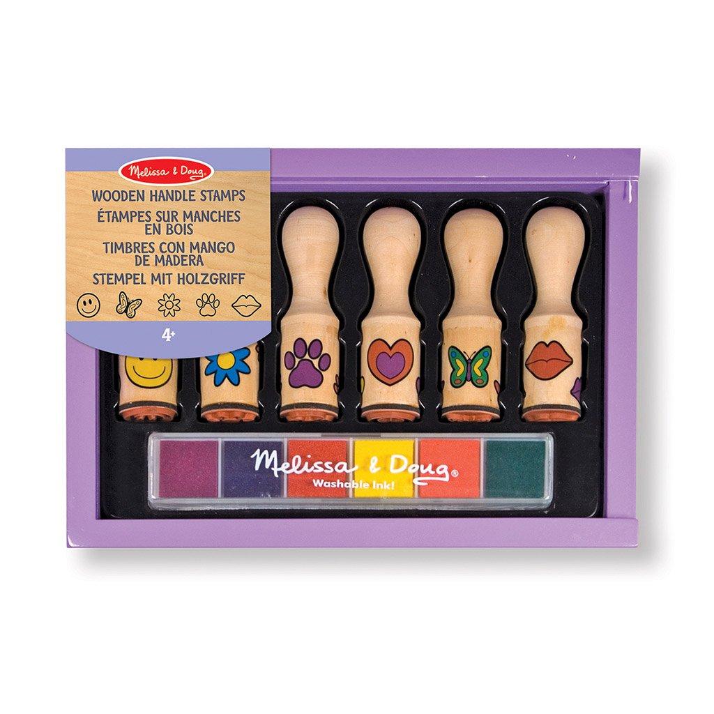 happy handæe stempel sæt med seks forskellige motiver og 6 forskellige blæk-farver