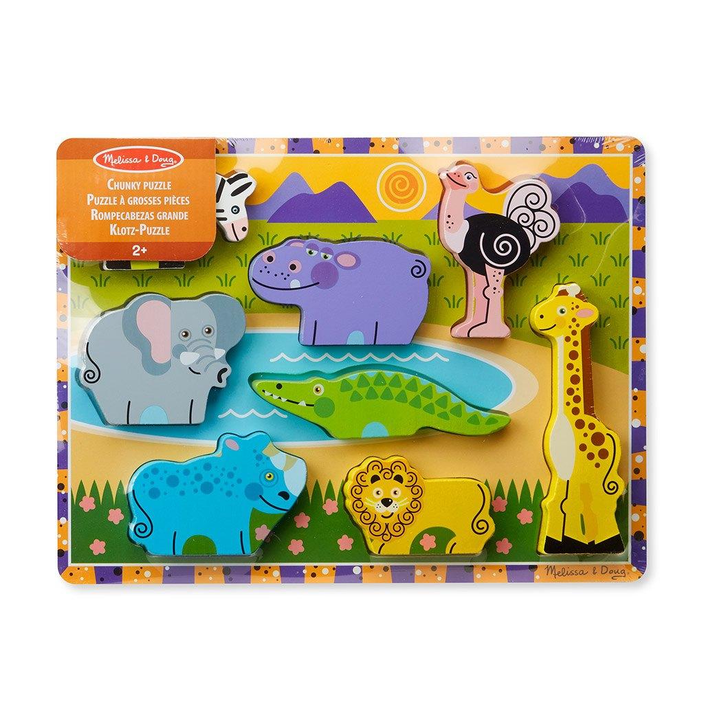 safari chunky puslespil med tykke træ brikker. Puslespil er lærerig leg. Køb hos www.ciha.dk
