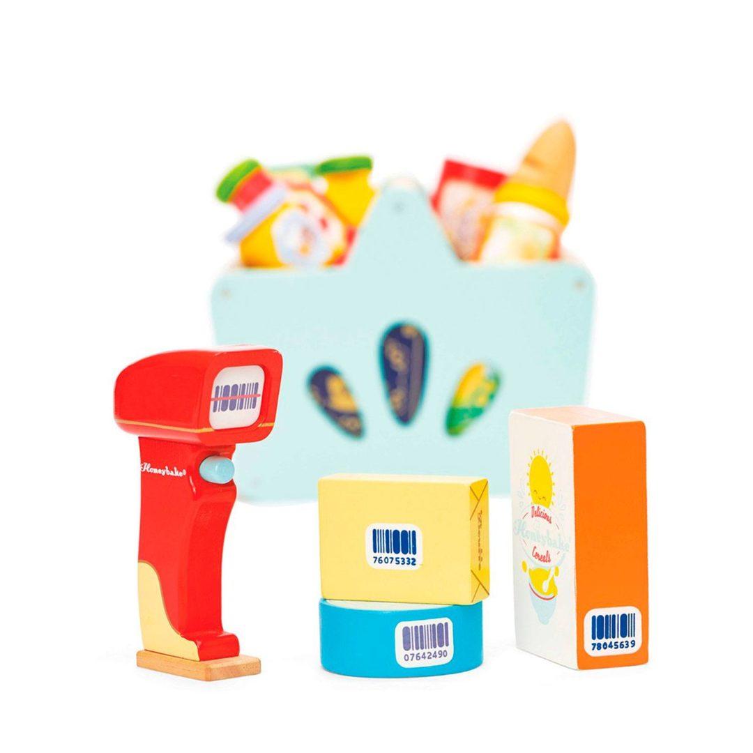 indkøbskurv med scanner fra Le Toys Van honeybee serie. Køb legetøj til rollelegen hos www.ciha.dk