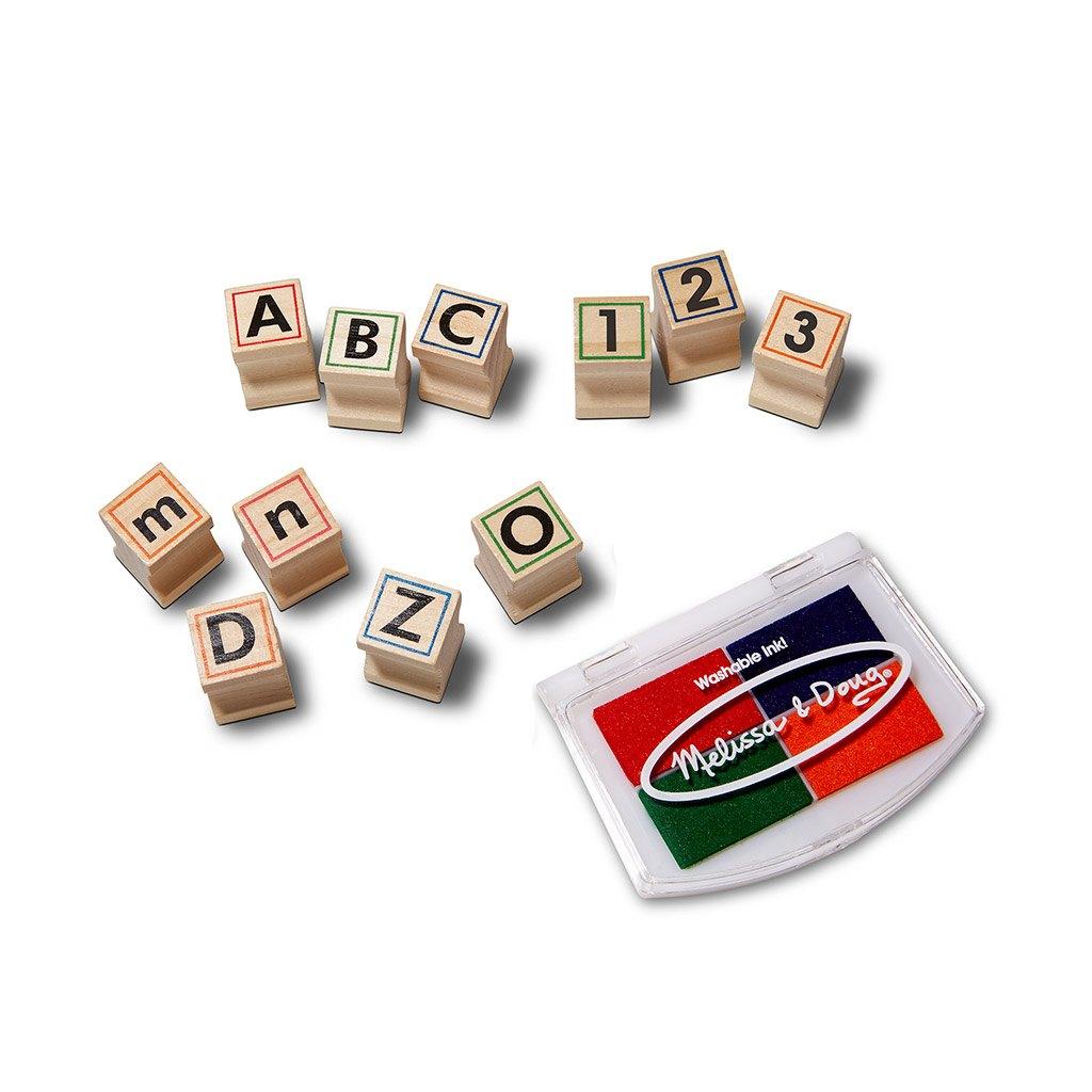 Abc og 123 deluxe stempel sæt i træ. Lær at tælle, skrive, stave og læse. Køb hos www.ciha.dk
