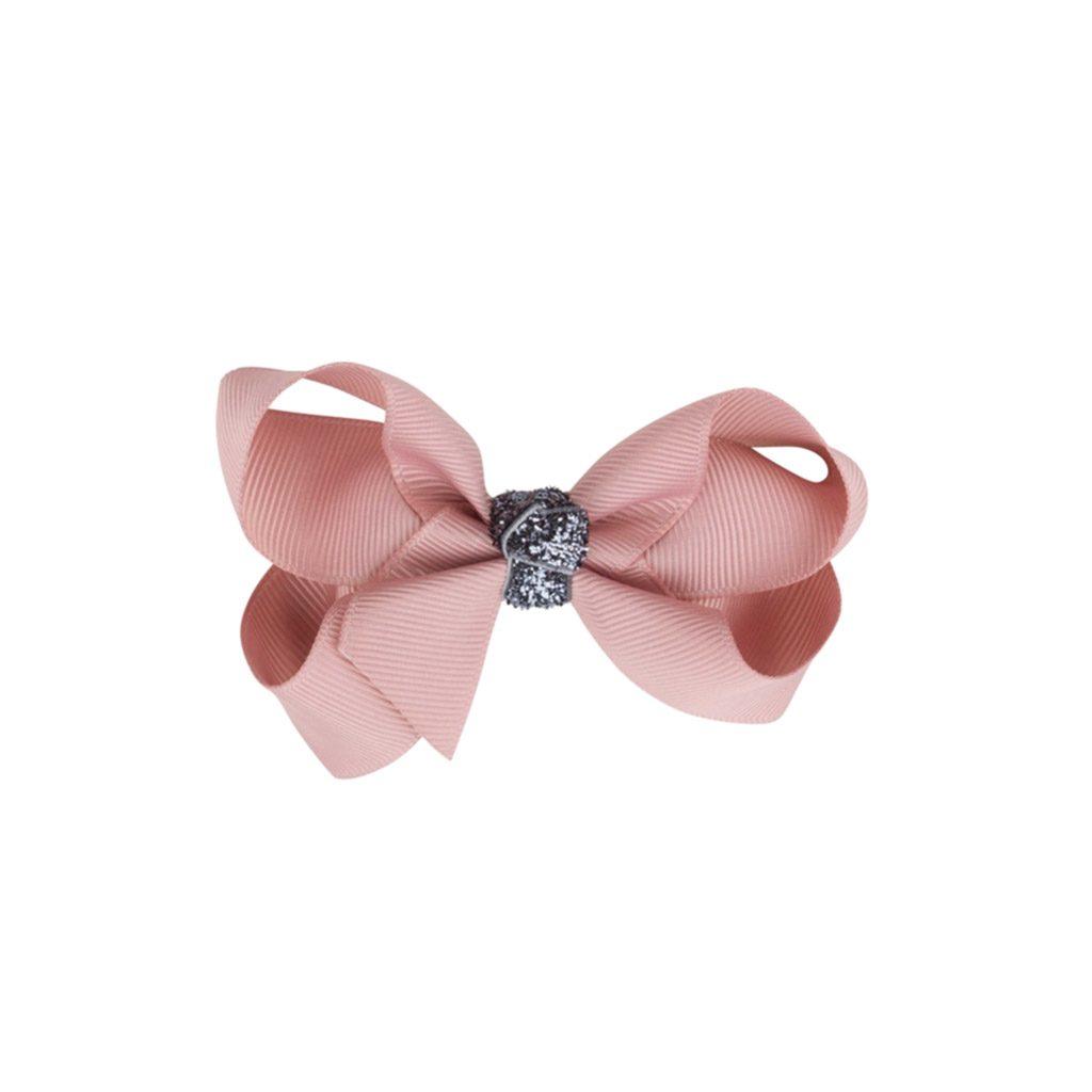 Hår sløjfe i antik rosa med grå glimmer str 8 cm. Køb hos www.ciha.dk