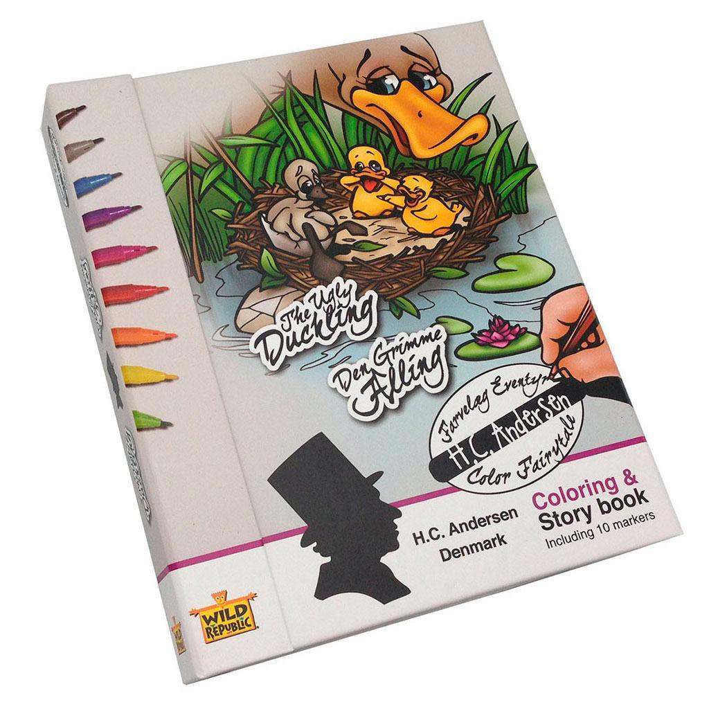 Male og eventyr bog med eventyret DEn grimme ælling af H.C. Andersen. Køb legetøj til ferien og rejsen hos www.ciha.dk