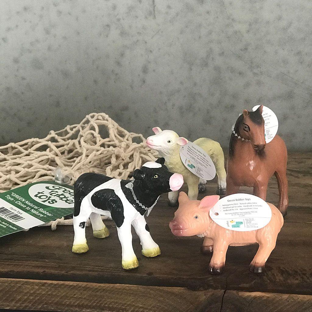 Bondegårds dyr fremstillet af latex. Sjove dyr fra Grren rubber toys købes hos ciha.dk