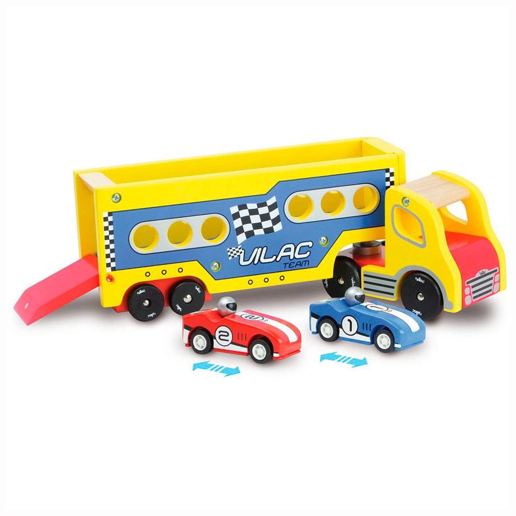 Vilac lastbil med to friktionsbiler. Køb biler hos www.ciha.dk