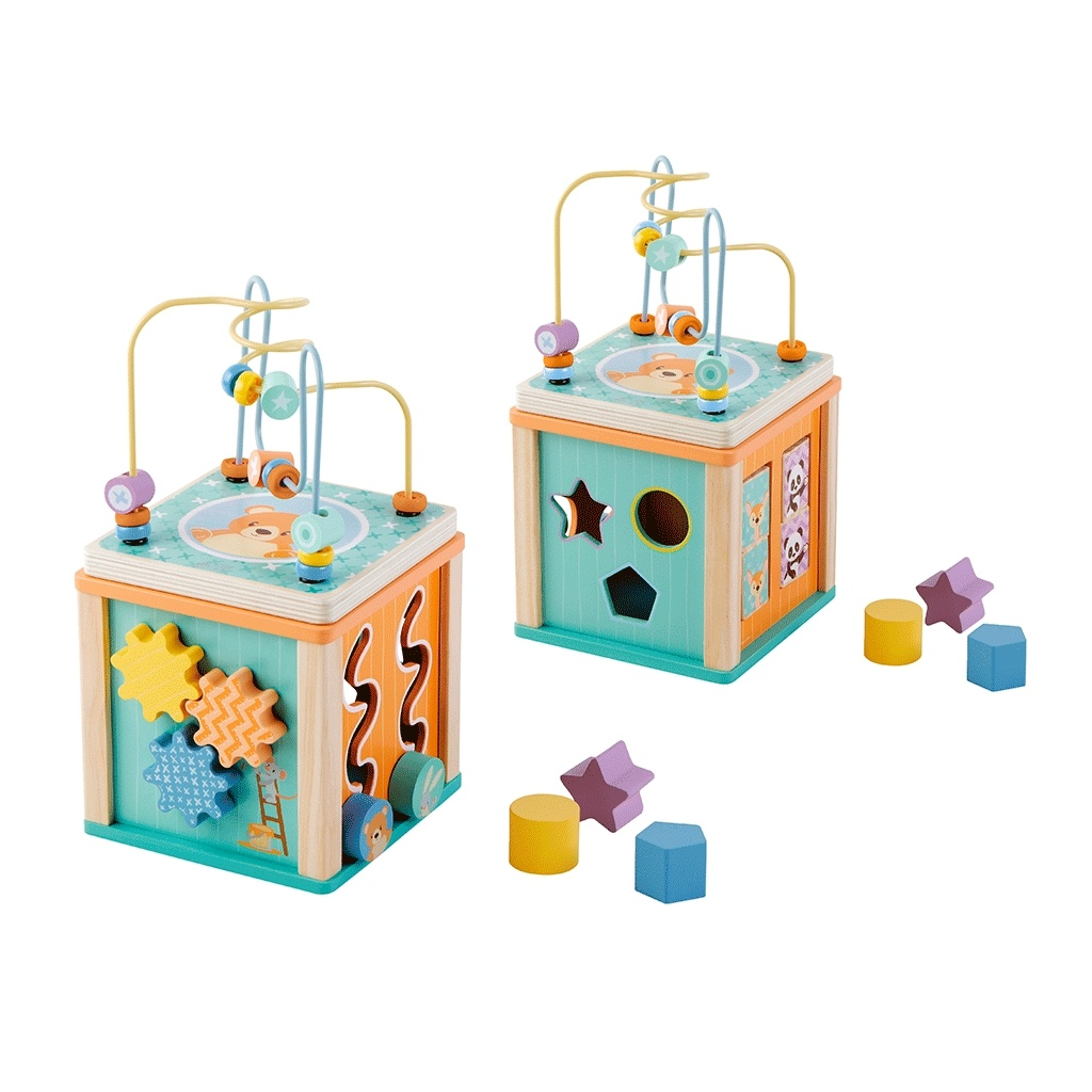 aktivitets kube for små børn. Styrker fin motorikken og årsag virkning