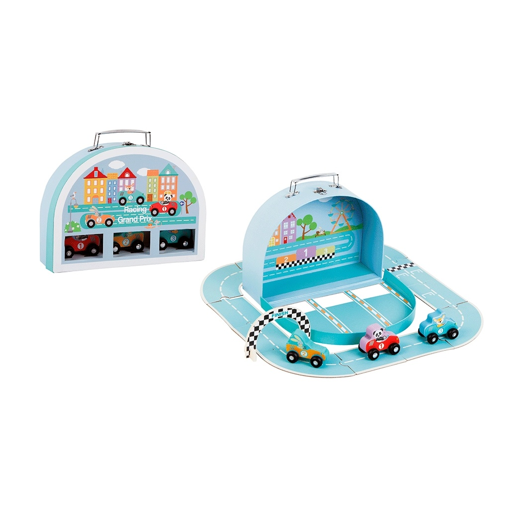 Bilbane i kuffert med 3 biler. Sjov og sødt sæt med træ biler