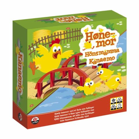 Børnespillet hønemor, hvor hendes tre kyllinger skal fragtes sikkert hjem til hønsegården