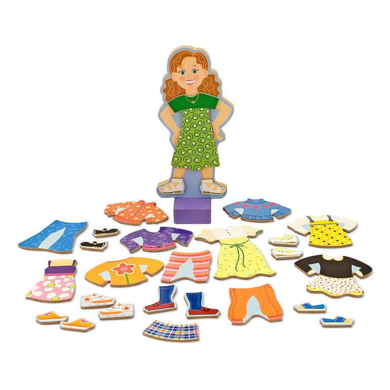 maggie, Påklædningsdukke med magneter, snak om beklædning, snak om tøj, snak om hvor skal hun hen og hvad har man på, rolleleg, sprogbad, cochlear implants, høreapparater, ciha, auditory verbal therapy, avt
