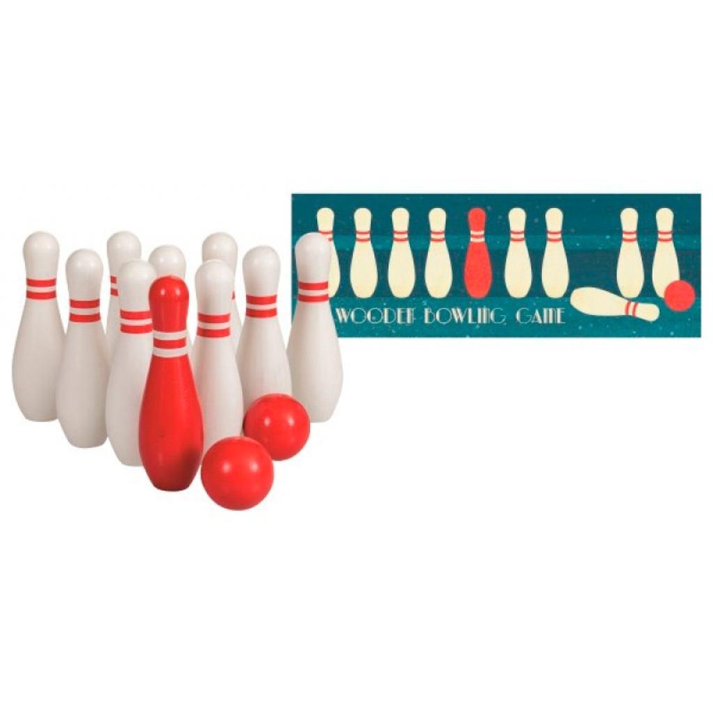 Bowling sæt i træ fra Egmont tøjs. Legetøj til udeleg og udendørs sjov og spil for hele familien