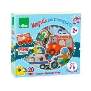 Magnetæske i træ med 20 stk magneter af forskellige køretøjer. Sjov leg og læring med magneter. Styrk ordforråd og sprog med ciha.dk