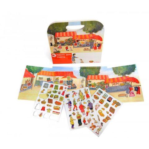 Magnetbog med markedspladsen,. Sprogstimulerende materiale for forældre, talepædagoger og daginstitutioner