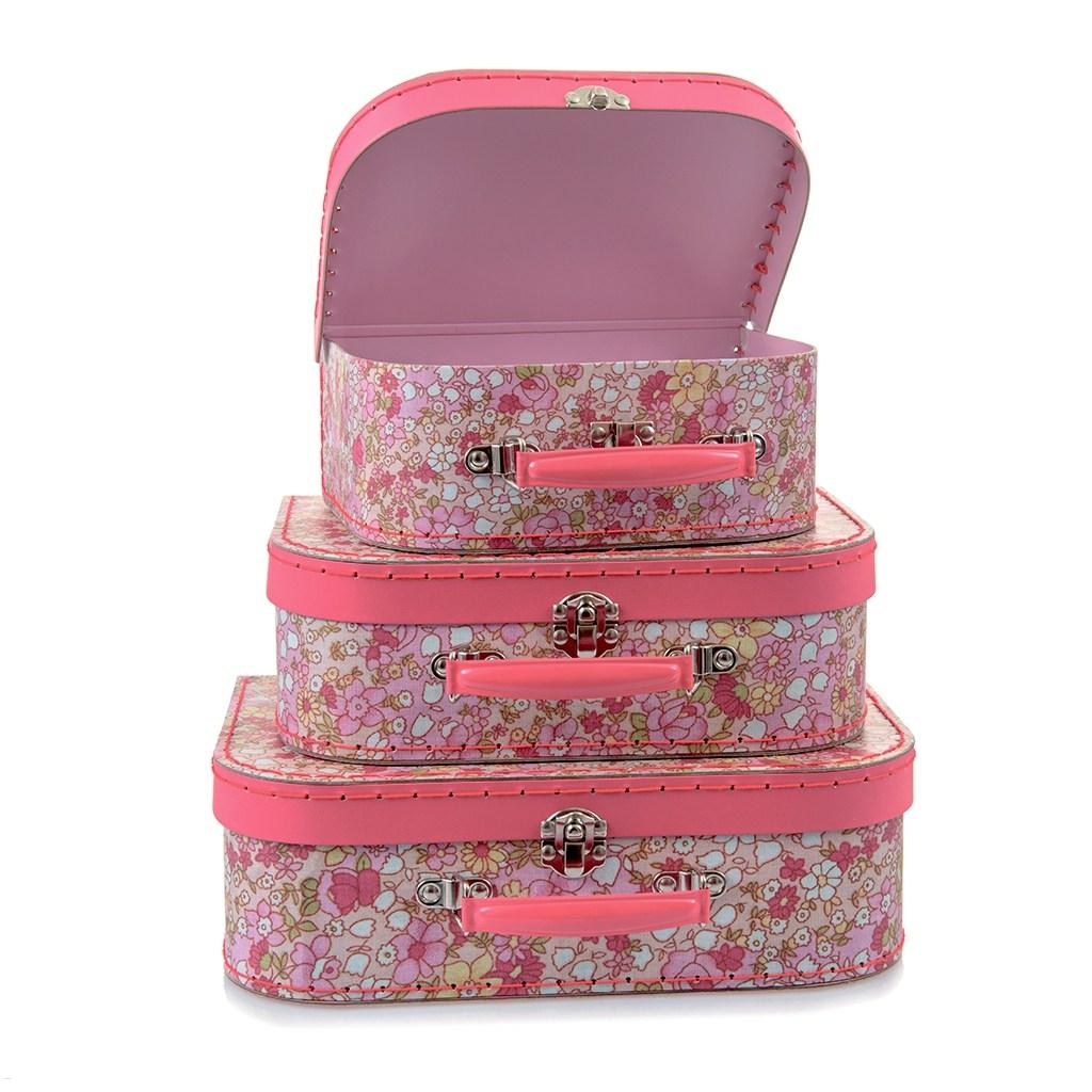 Image of   3 pak kuffert sæt - Blomster