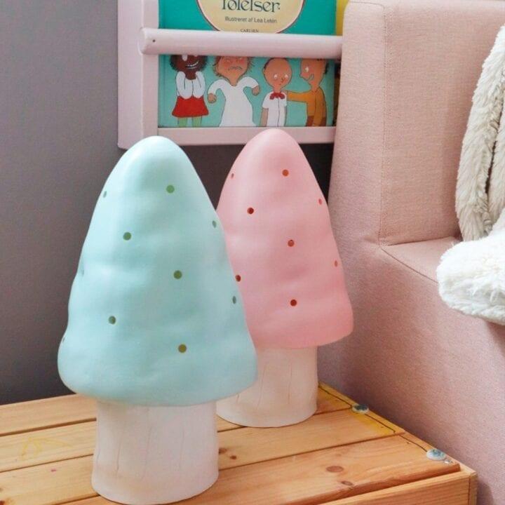 Jade og vintage pink lille svampelampe