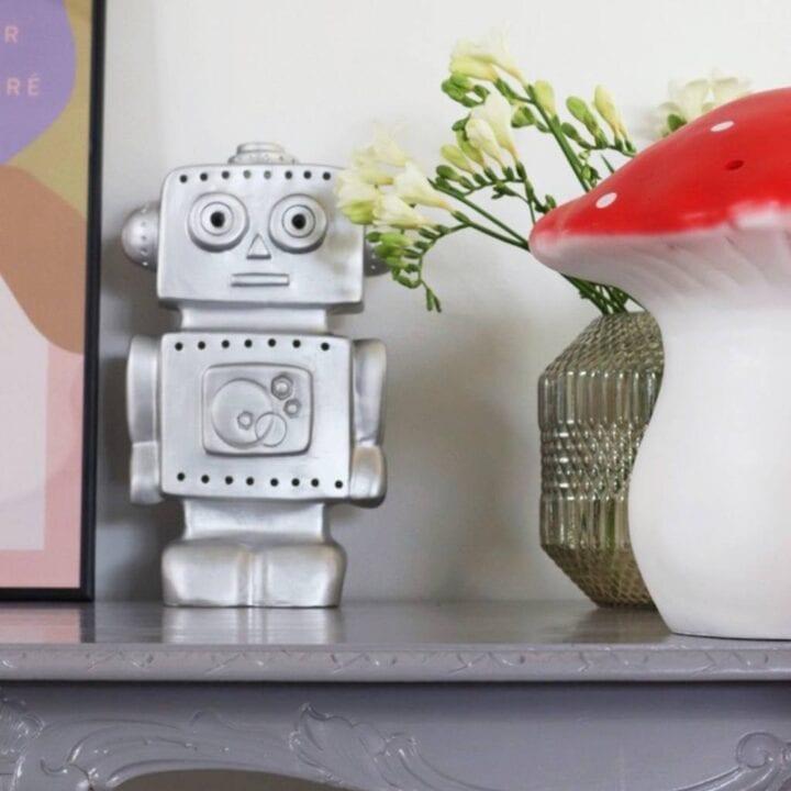 Robot sølv lampe