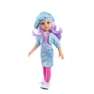 Amiga dukke fra Paola Reina. Her er det Karin med lilla vildt hår.