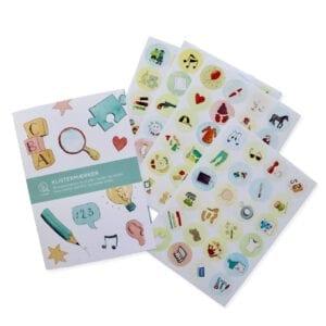 Oprydnings klistermærker sæt med 96 runde stickers.