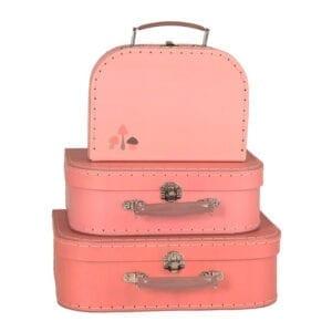 kuffertsæt peach med svampe print