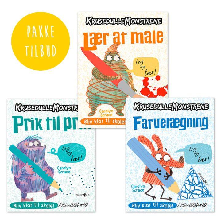 krusedullemonstrene i et pakketilbud med 3 stk male og aktivitetsbøger